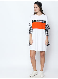 Disrupt White  Cotton Graphic Print Half Sleeve Dress For Women's
