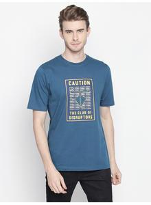 Disrupt Blue Half Sleeve Cotton T-Shirt For Men