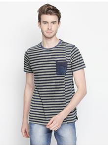 Disrupt Blue & Grey Striped Cotton Blend Half Sleeve T-Shirt For Men's