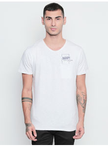 Disrupt White Graphic Print Cotton Half Sleeve T-Shirt For Men's