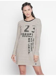 DISRUPT Striped BEIGE  DRESS FOR WOMEN'S