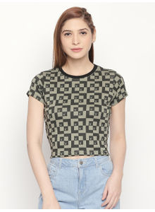 Disrupt Slim- Fit Olive All Over Printed T-shirt For Women's