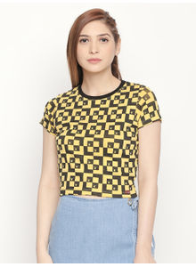 Disrupt Slim- Fit Yellow All Over Printed T-shirt For Women's