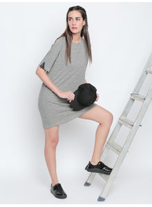Disrupt Grey Melange Cotton Viscose Blend Striped Boyfriend-Fit Dress For Women's