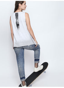 Disrupt White Melange Cotton Viscose Blend Graphic Print Sleeveless T-Shirt For Women's