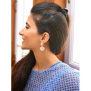 Gold-Toned & White Geometric Drop Earrings