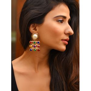 Multicoloured Geometric Drop Earrings