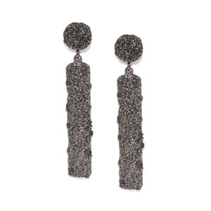Silver-Toned Geometric Drop Earrings