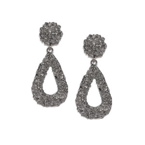 Gunmetal-Toned Teardrop Shaped Drop Earrings