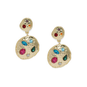 Gold-Toned Circular Stone-Studded Drop Earrings