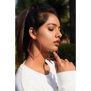 Pink Circular Hoop Earrings
