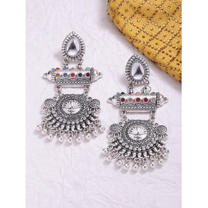 Silver-Toned Fusion Tribal Contemporary Drop Earrings For Women