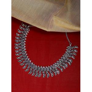 Women Silver-Toned Oxidised Leaf Choker Necklace