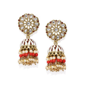 Women White & Gold-Toned Dome Shaped Jhumkas