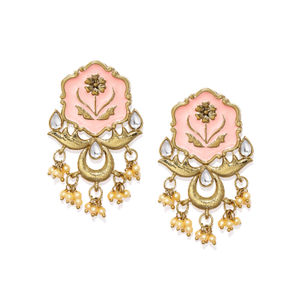 Women Gold-Toned & Pink Enamelled Drop Earrings