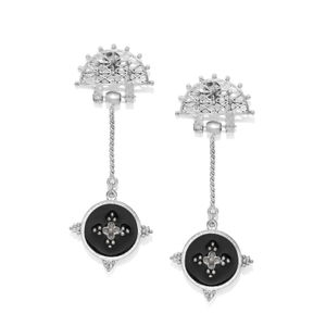 Women Silver-Toned & Black Circular Drop Earrings
