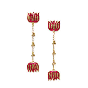 Women Fuchsia & Gold-Toned Classic Drop Earrings