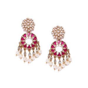 Fuschia Floral Drop Earrings