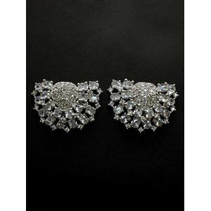 Destination Wedding Gold-Plated Silver-Toned Zirconia Stone Ear Jackets