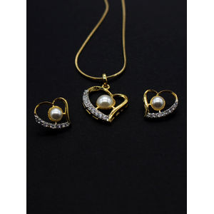 Gold-Plated White Cz Stone-Studded Jewellery Set