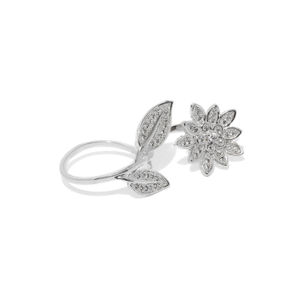Women Silver-Toned Floral Duo Ring