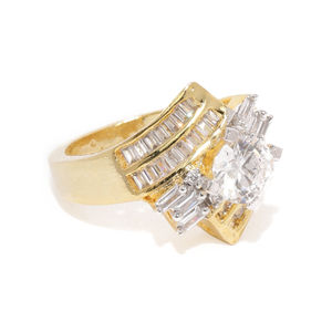 Gold-Toned Lustre Solitaire Ring