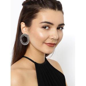Silver-Toned Benesh Circular Drop Earrings