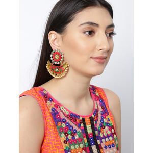 Fuschia Geen Meenakari Dangler Earring