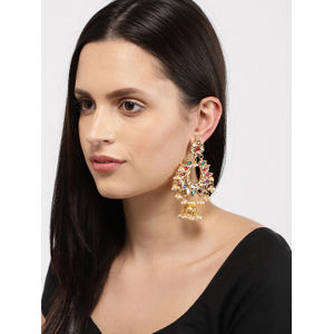 Multicoloured Crescent Shaped Drop Earrings