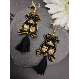 Black Seedbead Statement Drop Earrings
