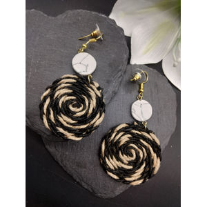 Black And Beige Swirl Drop Earrings