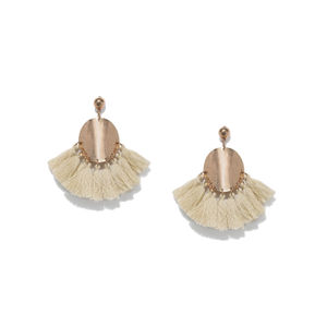 Gold-Toned & Beige Tasselled Contemporary Drop Earrings