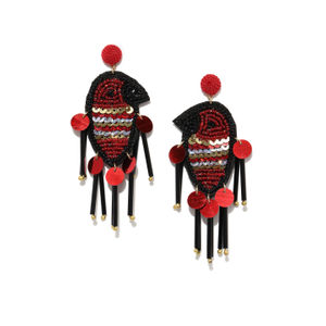 Red & Black Quirky Drop Earrings