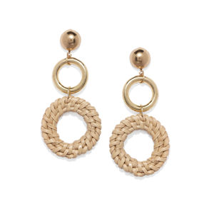 Beige Wooden Drop Earrings