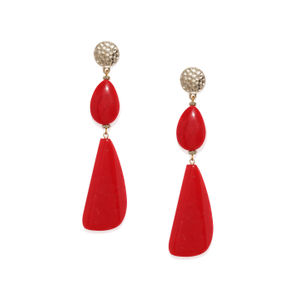 Red & Gold-Toned Contemporary Drop Earrings