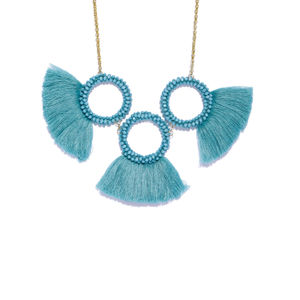 Blue Tassel Statement Necklace