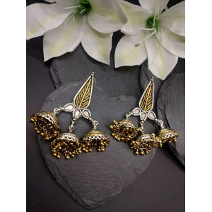 Oxidised Gold & Silver Toned Dome Shaped Jhumkas