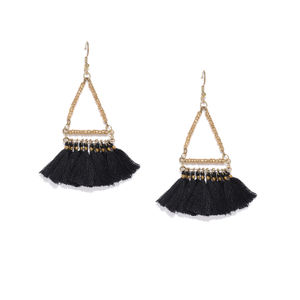 Black Pendulum Tassel Drop Earrings