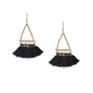 Black Pendulum Tassel Drop Earrings