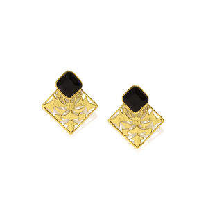 Gold-Toned  Black Drop Earrings
