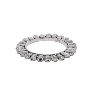 Women Silver-Toned Oxidised Meenika Kada Bangle