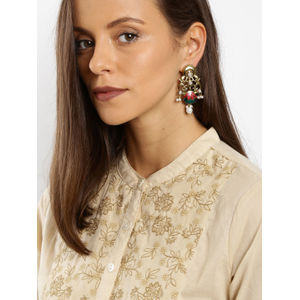 Antique Gold-Toned Pink Contemporary Drop Earrings