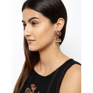 Pink Gold-Toned Floral Handcrafted Jhumkas