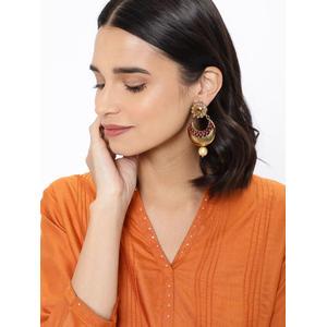 Gold-Toned & Pink Circular Drop Earrings