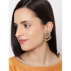 Gold-Toned & Red Circular Oversized Studs