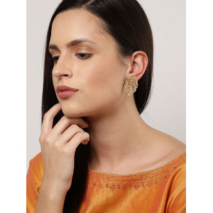 Gold-Toned Contemporary Oversized Studs