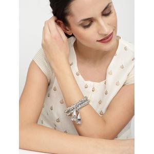 Set Of 2 Silver-Toned Embellished Bangles