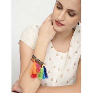 Set Of 6 Multicolored Embellished Bangles