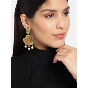 Gold-Toned & Off-White Classic Laxmi Drop Earrings