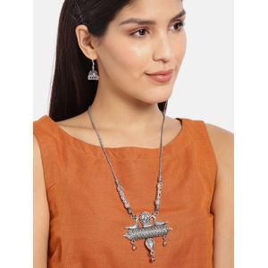 Silver-Toned Tribal Necklace & Earring Set